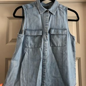 Who What Wear Chambray Buttondown Tank (S)
